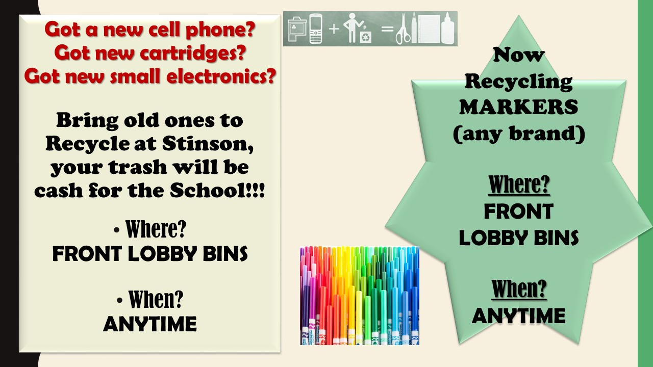 Bring recyclables to school for drop off